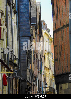 Medieval half-timbered buildings in street, Tours Village, France - Stock Photo