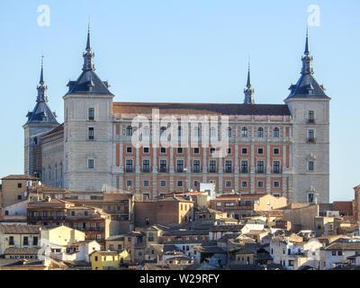 Alcázar of Castle Toledo, Spain on sunny morning - Stock Photo