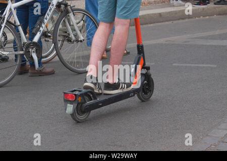 Motorized scooter in Berlin - Stock Photo