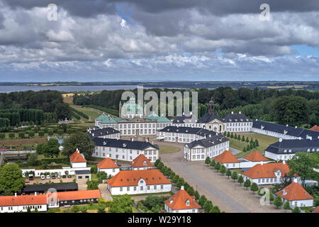 Aerial view of Fredensborg Palace located on Zealand in Denmark - Stock Photo