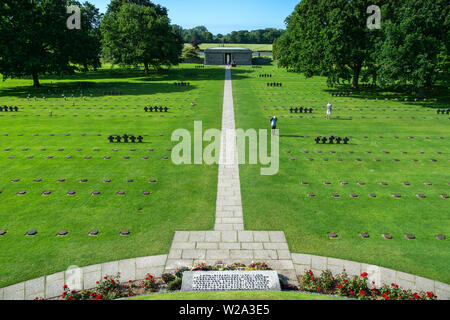 Aerial view of World War Two German military cemetery, D-Day memorial, La Cambe, Normandy, France. - Stock Photo