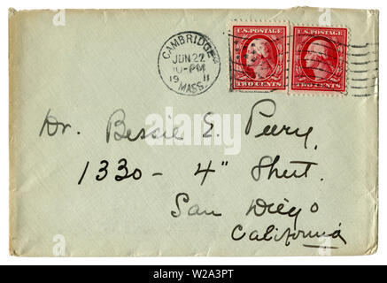 Cambridge, Massachusetts, The USA  - 22 June 1911: US historical envelope: cover with red postage stamps, two cents George Washington, American flag - Stock Photo