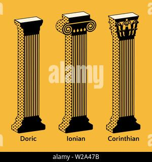 Set of isometric icons of Antique Greek columns in retro style. Types of Doric, Ionian, Corinthian vector illustration - Stock Photo