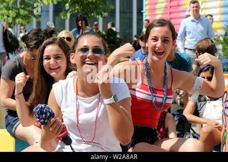 New York City, New York, USA. 7th July, 2019. 2019. United State football/soccer supporters gathered in strength at the World Trade Center (WTC) in New York on 7 July, 2019, for an outdoor watch party in support of Team USA at the FIFA Women's World Cup final in Lyon, France against the Netherlands. Credit: G. Ronald Lopez/ZUMA Wire/Alamy Live News - Stock Photo