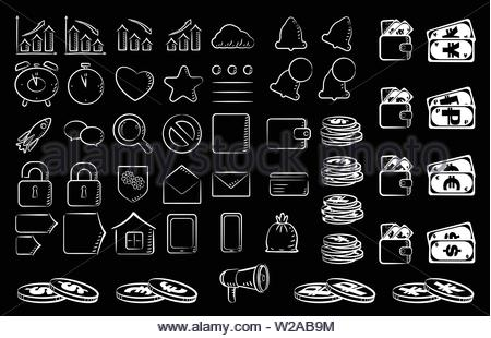 Set of icons on the theme of business, finance on a black background, white outline. - Stock Photo