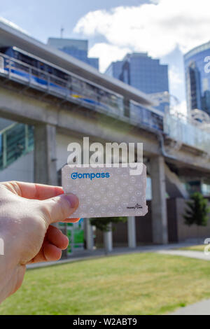 Hand holding a Translink Compass Card - Stock Photo
