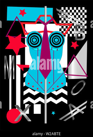 Female torso silver and blue with stars, pop art background - Stock Photo