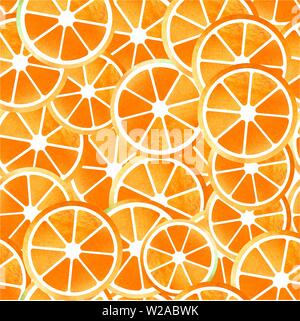 Orange seamless patterns of sliced fruit painted watercolors - Stock Photo