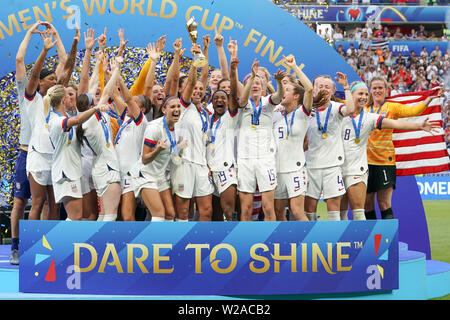7 july 2019 Lyon, France FIFA Women's World Cup France 2019 Final USA v Netherlands   USA World Champion - Stock Photo
