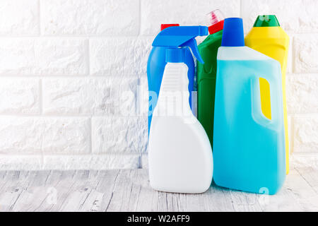 Cleaning tools - liquid, paste, gel in a plastic containers. - Stock Photo