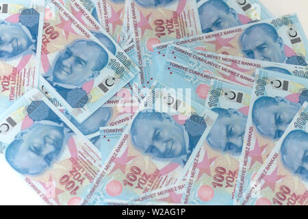 Turkish 100 banknotes - Stock Photo
