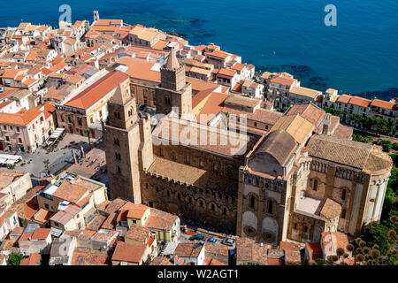 Elevated view of Cefalu Old Town centred around the catholic cathedral or Duomo of Cefalu in Sicily, Italy. - Stock Photo