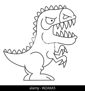 Cartoon doodle illustration of cartoon dinosaur for coloring book, t-shirt print design, greeting card - Stock Photo