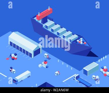 Empty shipping dock isometric vector illustration. Warehouse storage, industrial ship and freight trucks at seaport. Merchandise transportation business, maritime delivery service, cargo distribution - Stock Photo