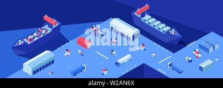 Shipping dock isometric flat vector illustration. Shipment transportation, import and export business, maritime delivery service. Logistics hub, freight ships with containers in harbor, seaport - Stock Photo