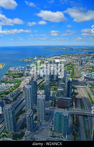 The skyline of Toronto as seen from the CN Tower - Stock Photo