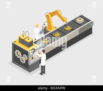 Personal computer assembly line, manufacturing process. Engineers working on industrial factory, research centre 3d vector illustration. Remote controlled, automated robotic arm isometric concept - Stock Photo
