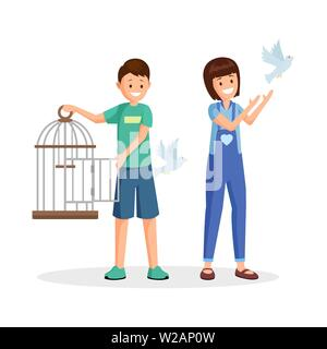 Children setting birds free vector illustration. Cartoon kids, teenagers with open birdcage liberating pigeons. Animal rights activists, volunteers fighting for wild species natural habitat - Stock Photo