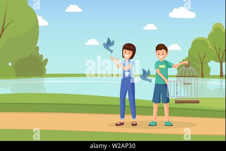 Animal rights activists vector illustration. Cartoon volunteers with open birdcage liberating doves flat characters. Children, teenagers playing with domesticated pigeons outdoors - Stock Photo