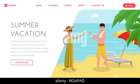 Drinking cocktails on seashore landing page. Holidaymakers enjoying alcoholic drinks on vacation, tropical island resort flat vector illustration. Traveling agency website, webpage template - Stock Photo