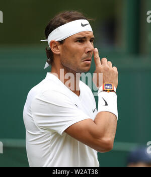 London, UK. 06th July, 2019. Rafael Nadal (ESP) with his watch on Day Six at The Wimbledon Championships tennis, Wimbledon, London on July 6, 2019 Credit: Paul Marriott/Alamy Live News - Stock Photo