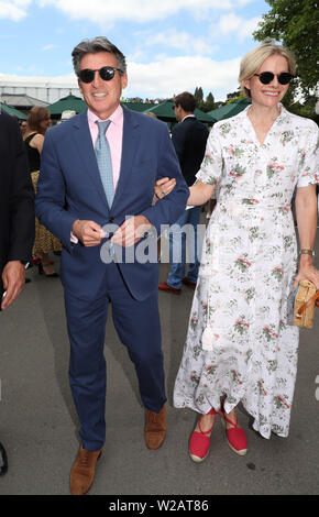 London, UK. 06th July, 2019. Lord and Lady Coe on Day Six at The Wimbledon Championships tennis, Wimbledon, London on July 6, 2019 Credit: Paul Marriott/Alamy Live News - Stock Photo