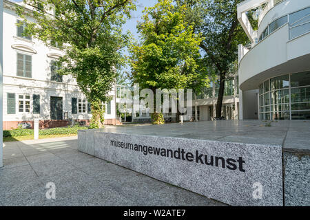 Frankfurt am Main, Germany. July 2019.   The entrance of Museum Applied Art palace - Stock Photo