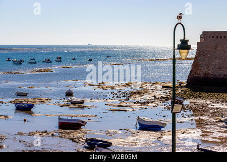 Seagull on a street light at La Caleta Beach next to the Castle of Santa Catalina, shimmering water surface and low-tide shoreline with boats in Cadiz - Stock Photo