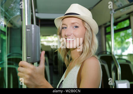 young woman in the bus - Stock Photo
