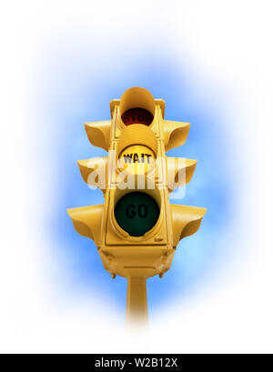 Upward view of  tall vintage yellow traffic signal with yellow WAIT light on white vignette background - Stock Photo