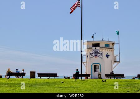 scenic view of Main beach in Laguna beach, california - Stock Photo