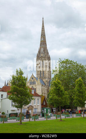 View from Cathedral Close of Salisbury Cathedral, an iconic Gothic masterpiece with the tallest spire, Salisbury, Wiltshire, south-west England, UK - Stock Photo