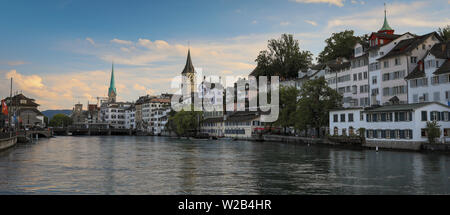 Aerial view of Zurich city center with famous St. Peter Church and river Limmat at Lake Zurich from Grossmunster Church Canton of Zurich Switzerland - Stock Photo