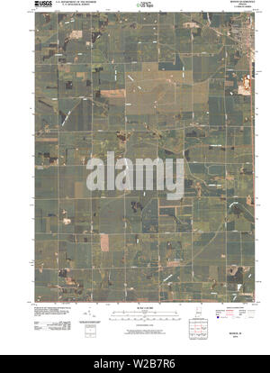 USGS TOPO Map Indiana IN Monon 20100526 TM Restoration - Stock Photo