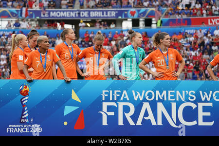 Lyon, France. 7th July, 2019. Players of the Netherlands react during the awarding ceremony of the 2019 FIFA Women's World Cup at Stade de Lyon in Lyon, France, July 7, 2019. Credit: Ding Xu/Xinhua/Alamy Live News - Stock Photo