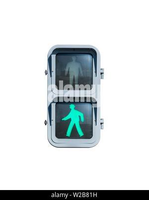 Keep walking traffic sign with illuminated isolated on white. - Stock Photo