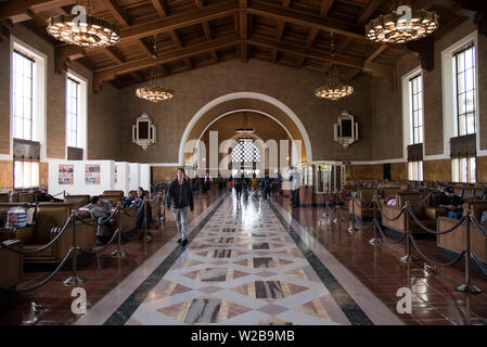 LOS ANGELES, CA/USA  - APRIL 14, 2019: Waiting area of the historic Union Station in Downtown Los Angeles - Stock Photo