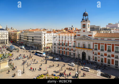 Madrid Spain, aerial view city skyline at Puerta del Sol - Stock Photo