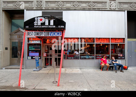 The People's Improv Theater, The PIT, 123 E 24th St, New York, NY. exterior storefront of a comedy club in the Rose Hill neighborhood of Manhattan. - Stock Photo
