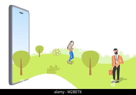 couple using smartphones walking outdoor man woman having fun in summer park from smartphone screen addiction communication concept online mobile - Stock Photo