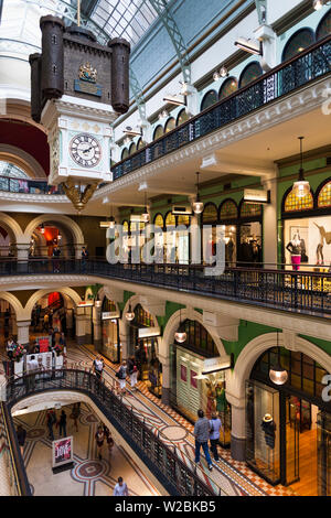 Australia, New South Wales, NSW, Sydney, Queen Victoria Building, QVB, shopping arcade, interior - Stock Photo