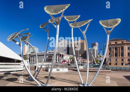 Australia, South Australia, Adelaide, Adelaide Festival Centre, solar-powered streetlights - Stock Photo