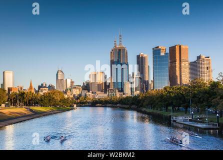 Australia, Victoria, VIC, Melbourne, skyline along Yarra River, morning - Stock Photo