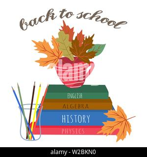 Back to school. Cute vector illustration for poster, background, banner or card, freehand drawing with stationery, books and pencil on a white