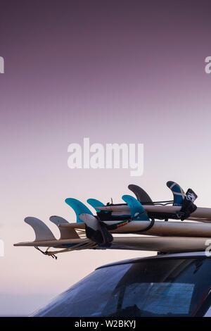 Australia, Western Australia, The Southwest, Prevelly, Surfers Point, surf boards, dusk - Stock Photo