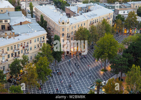 Azerbaijan, Baku, View of city looking over Fountain Square - Stock Photo