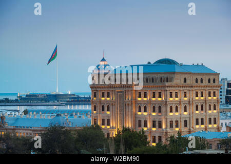 Azerbaijan, Baku, View over the Old Town towards the Four Seasons Hotel with Baku Crystal Hall in background - Stock Photo