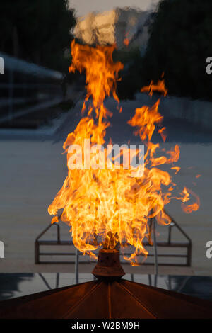 Azerbaijan, Baku, Sahidlar Xiyabani - Martyr's Lane, Eternal Flame Memorial - Stock Photo