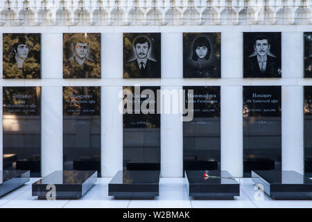 Azerbaijan, Baku, Sahidlar Xiyabani - Martyr's Lane, Memorials dedicated to those killed by the Soviet Army during Black January and later to those killed in Nagorno-Karabakh War. - Stock Photo