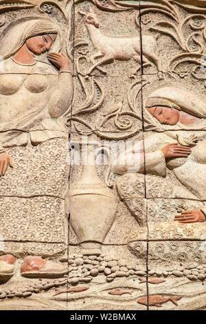 Azerbaijan, Baku, Carvings on wall in The Old Town - Icheri Sheher - Stock Photo